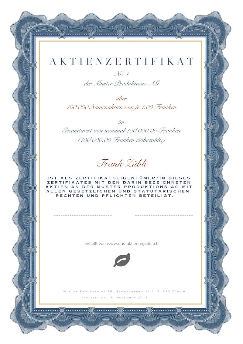 Aktienzertifikat in 6 Schritten erstellen | www.das-aktienregister.ch