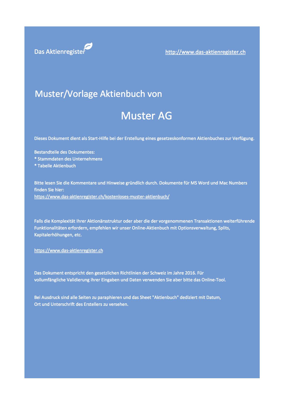 Das Aktienregister\'s Weblog - Kostenlose Muster / Beispiele ...