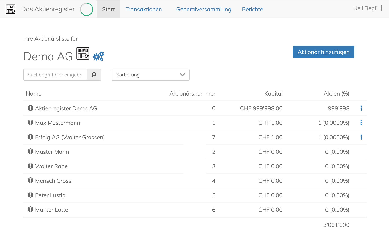 Gratis Muster Aktienbuch/Aktienregister   www.das-aktienregister.ch
